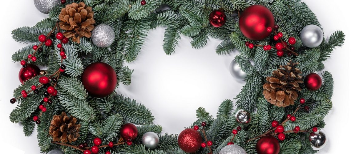 Christmas green fir tree wreath and decoration isolated on white background